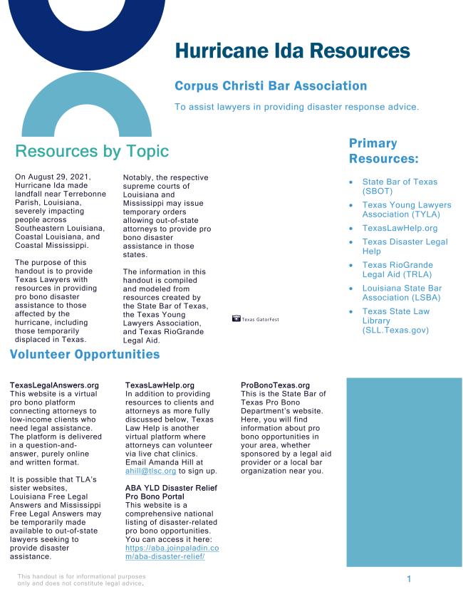 CCBA Hurricane Ida Resources
